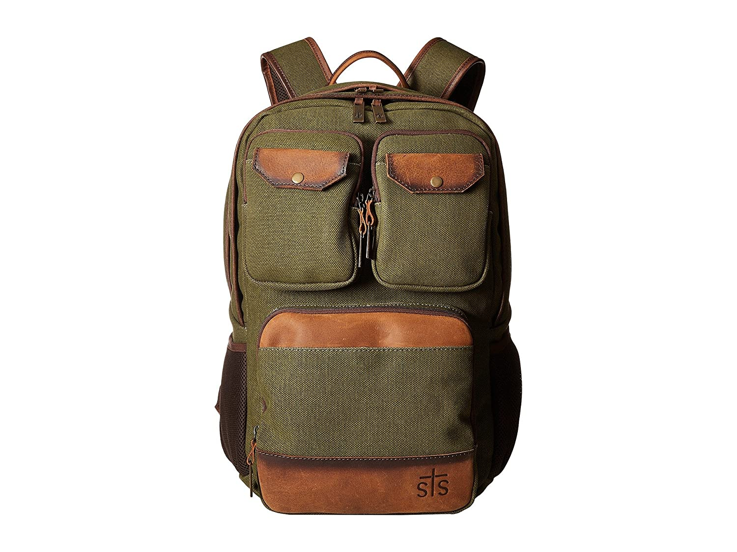 [STSランチウェア] STS Ranchwear メンズ The Foreman Military Backpack バックパック [並行輸入品]  Military Green Canvas/Brown Leather B06Y1FQZRZ