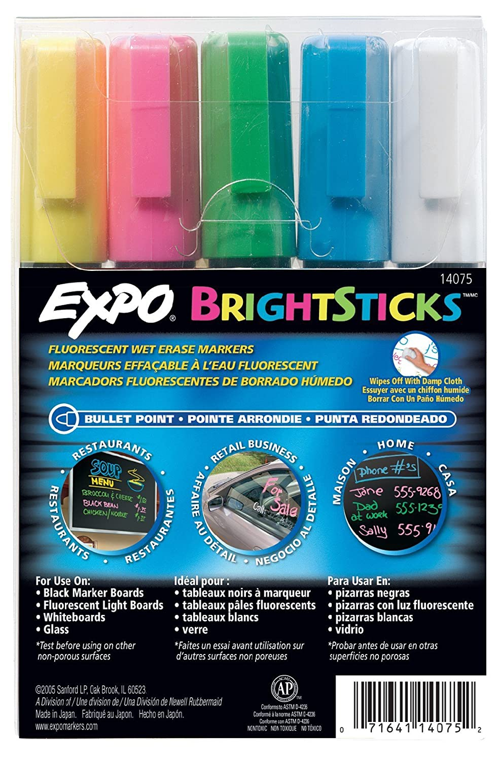 Sanford Wet Bright Sticks Wet-Erase Fluorescent Markers, Assorted Fluorescent Colors, 5-Pack (14075) Newell Rubbermaid Office