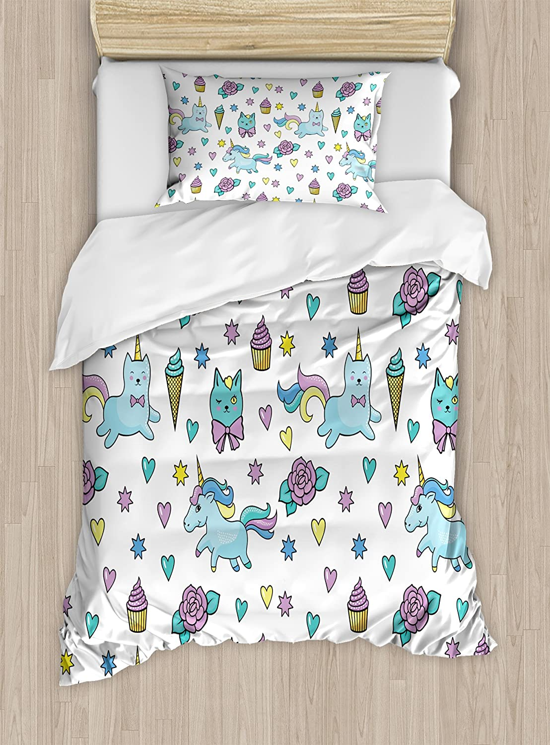 Ambesonne Unicorn Cat Duvet Cover Set, Girls Pattern with Hearts Stars Flowers Ice Cream Funny, Decorative 2 Piece Bedding Set with 1 Pillow Sham, Twin Size, Blue