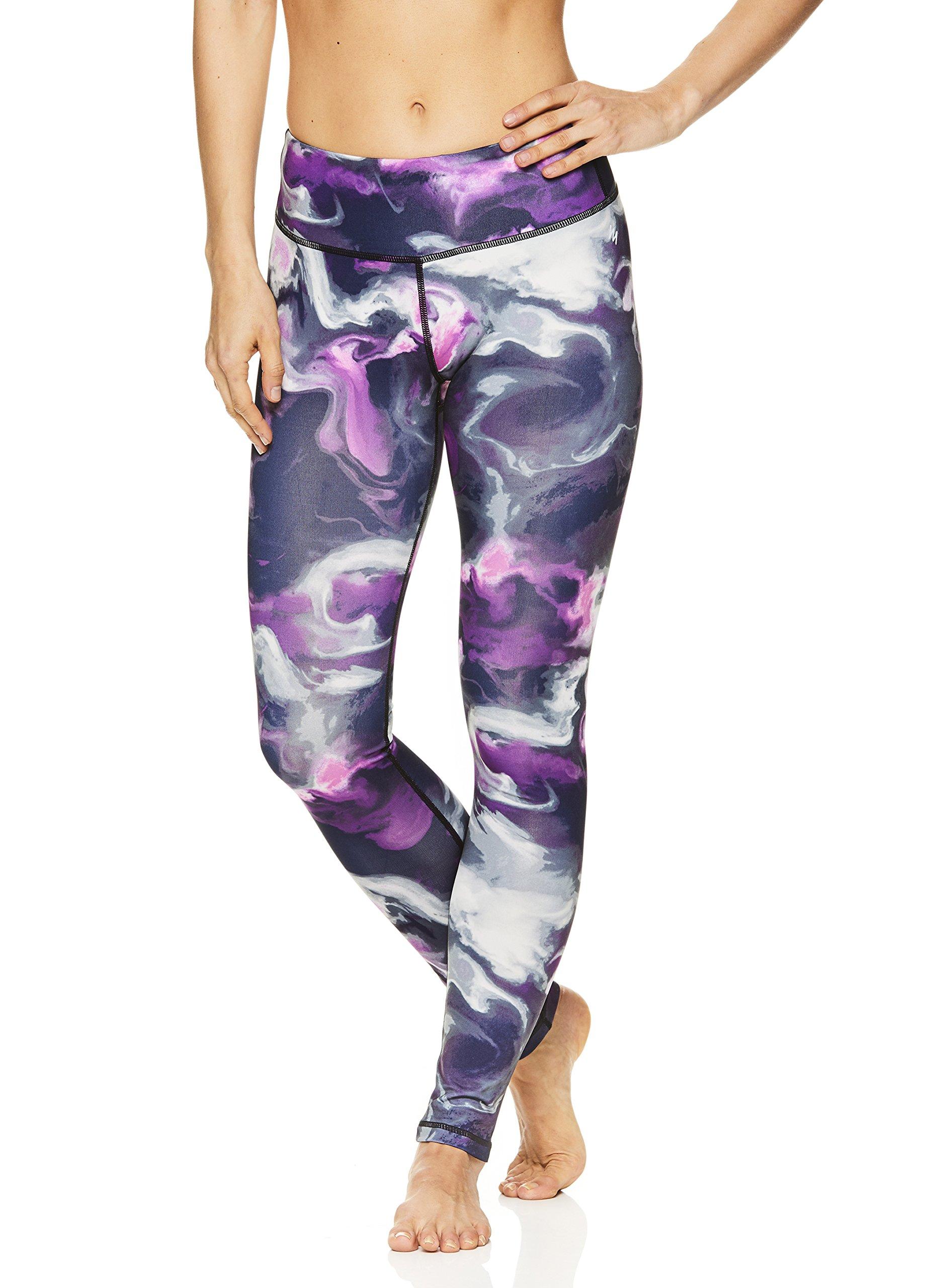 Nicole Miller Active Women's Flekka Printed Leggings - Performance Activewear Workout Pants - Coastal Black, Medium