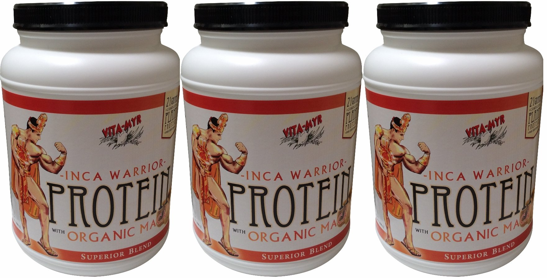 3 Pack (3 Month Supply) Vanilla INCA WARRIOR PROTEIN w/Organic Maca 2 Lb. by VITA-MYR