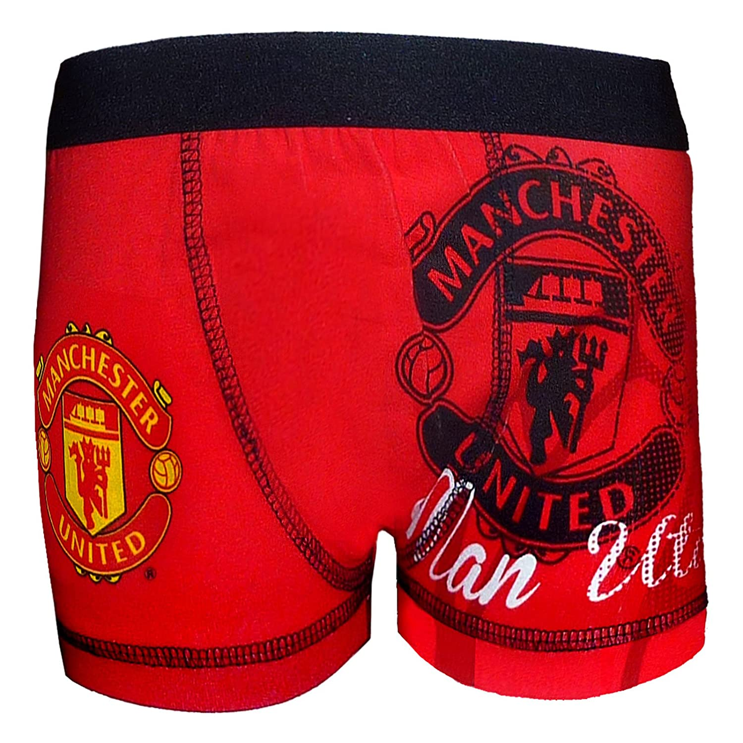 Manchester United FC Official Football Gift 1 Pack Boys Boxer Shorts 5-6 Years