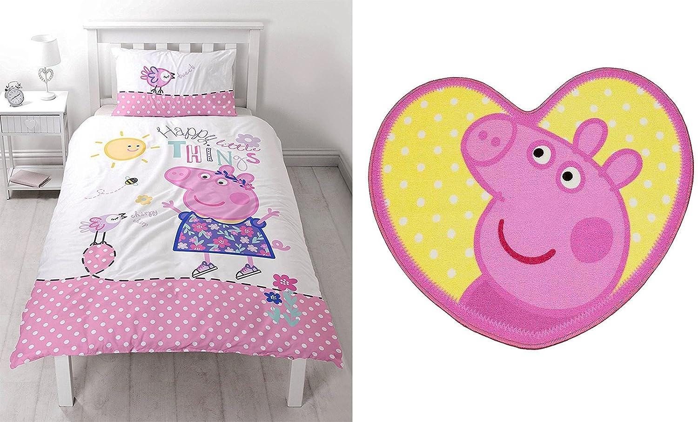 Fantastic Peppa Pig Happy Single Duvet Bedding Set And Rug Amazon Co Interior Design Ideas Tzicisoteloinfo