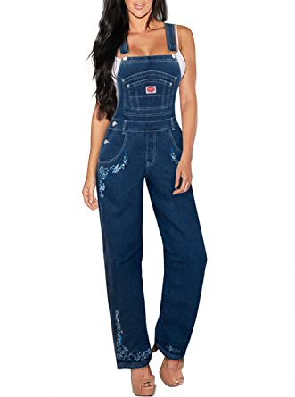9b494ced72da Amazon.com  Revolt Jeans Women s Plus Size Denim Bib Overalls  Clothing