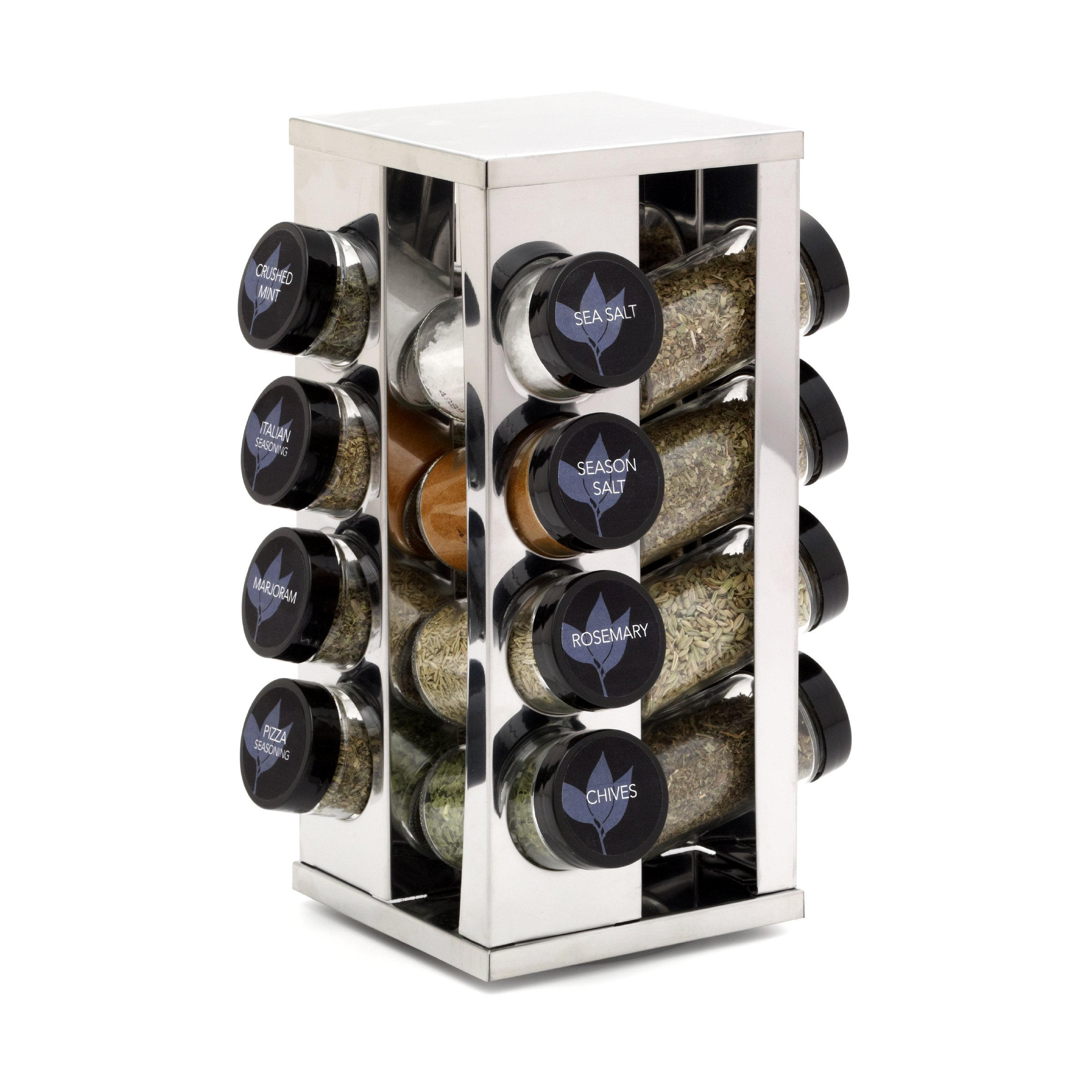 Kamenstein Heritage 16-Jar Revolving Countertop Spice Rack with Free Spice Refills for 5 Years by Kamenstein