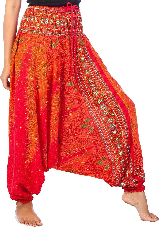 Lofbaz Jumpsuit Pantalones Harem de Cintura Smocked del Pavo Real para Mujeres