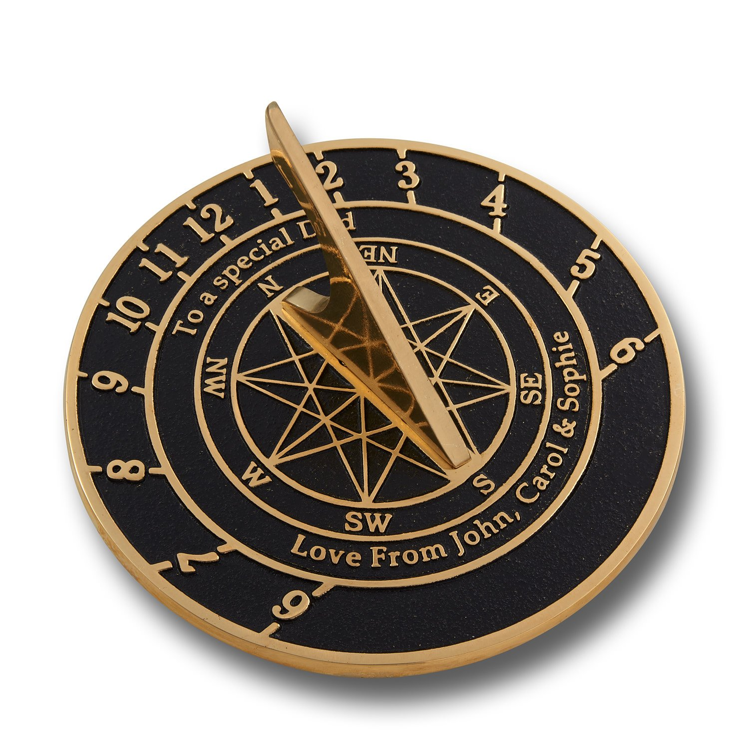 The Metal Foundry Personalized Large Brass Sundial with Pedestal Gift. This Unique Gift Idea for Him Or Her is Cast with Your Message and Will Make The Perfect Present for Birthday Or Christmas