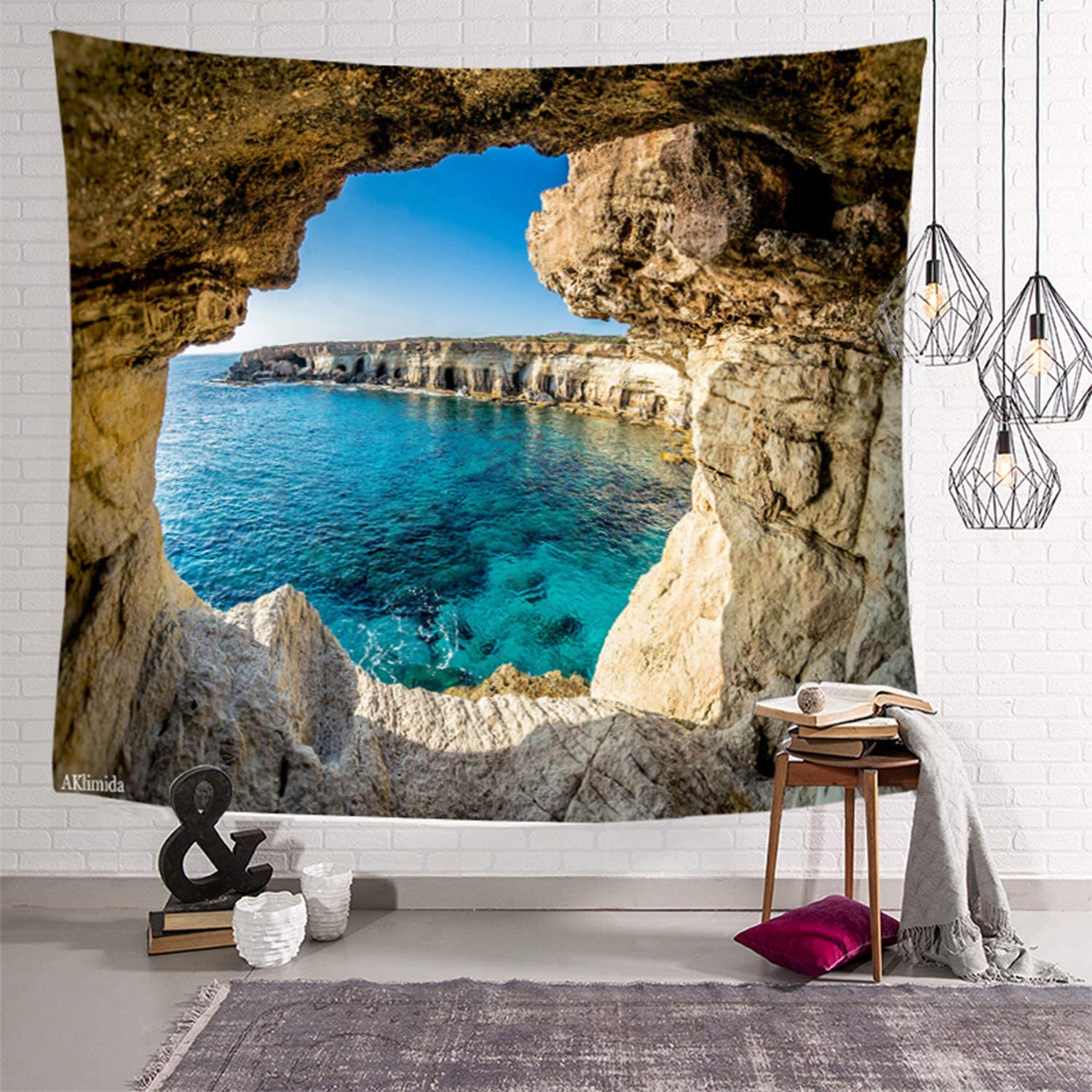 Aklimida Ocean Mountain Tapestry Wall hanging Nature Landscape Tapestry for Bedroom Living Room Dorm Decor Large Tapestrys Wall Art(cave90*60inch)
