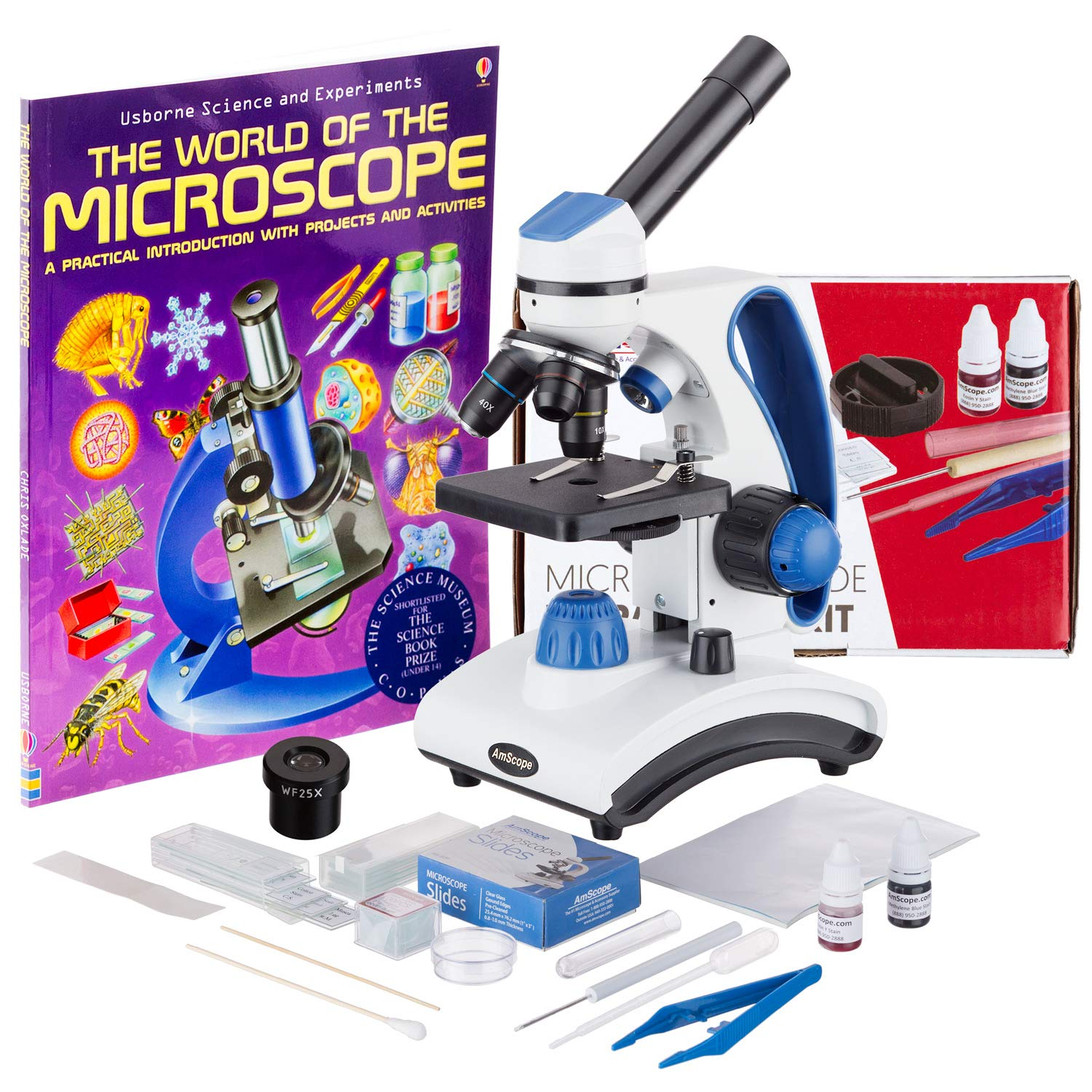 AmScope M162C-2L-WM-SP14-50P100S 40X-1000X Dual Light Glass Lens Metal Frame Student Microscope + Slides by AmScope
