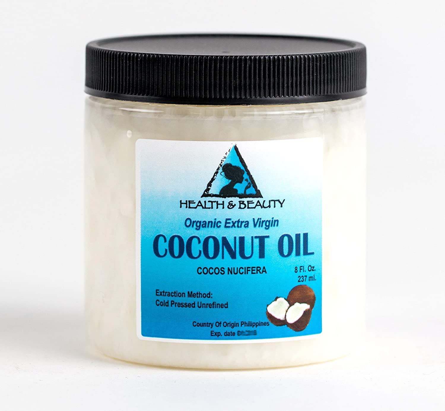 Coconut Oil Extra Virgin Organic Carrier Unrefined Cold Pressed Raw Pure in Jar 8 oz, 237 ml H&B OILS CENTER Co.