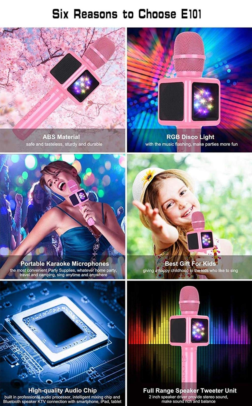 Rsiosle Wireless Bluetooth Karaoke Microphone with Disco Lights, Condenser Bluetooth Speaker Music Sing Play Karaoke Microphone Compatible with Android and iOS (Color : Gold) by Rsiosle (Image #7)