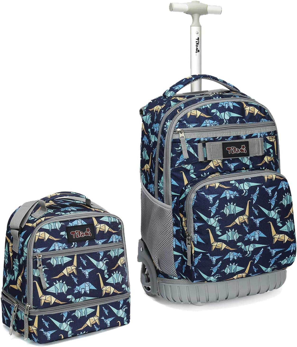Tilami Rolling Backpack 19 inch with Lunch Bag Wheeled Laptop Backpack, Dinosaur