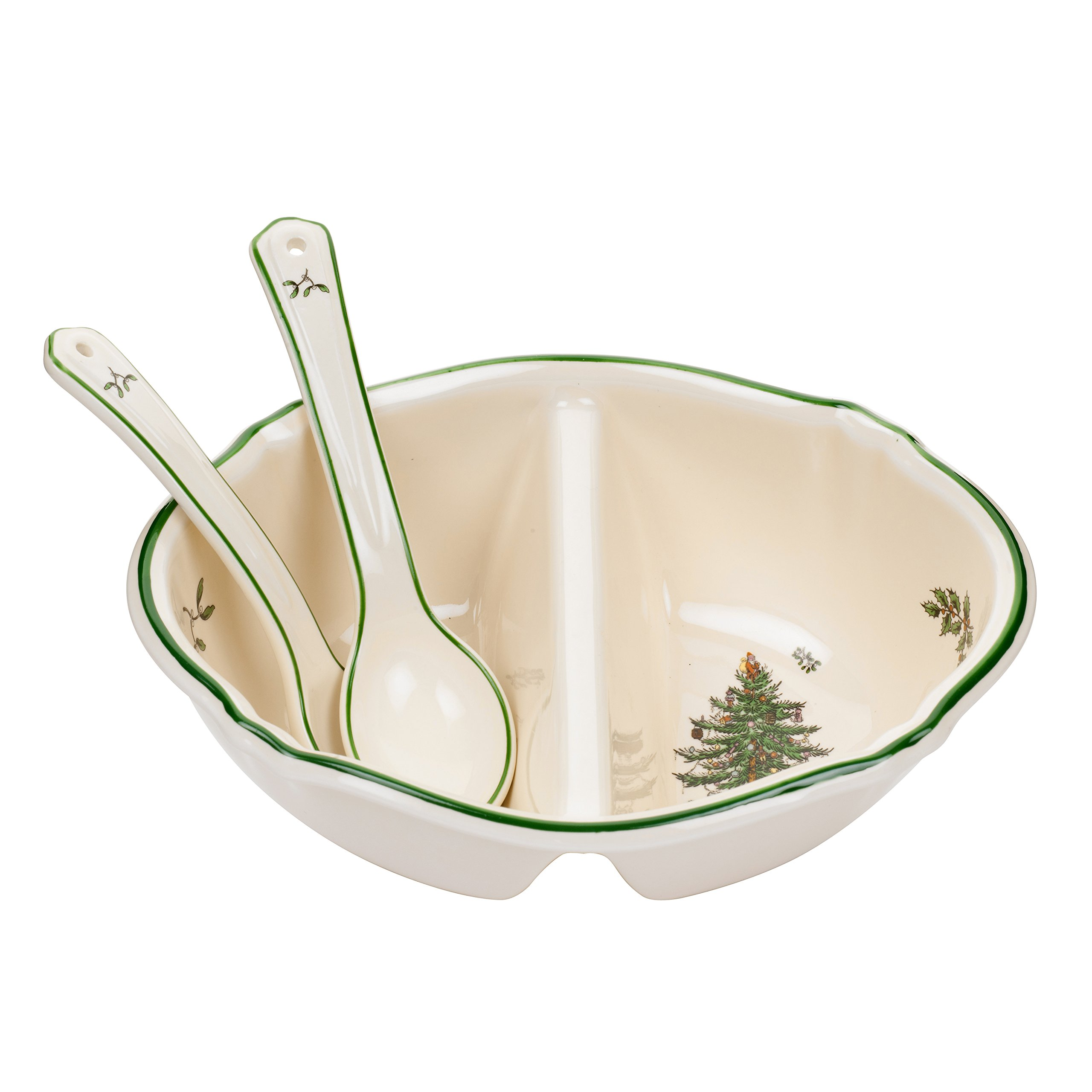 Spode Christmas Tree Divided Serving Dish with 2-Spoons