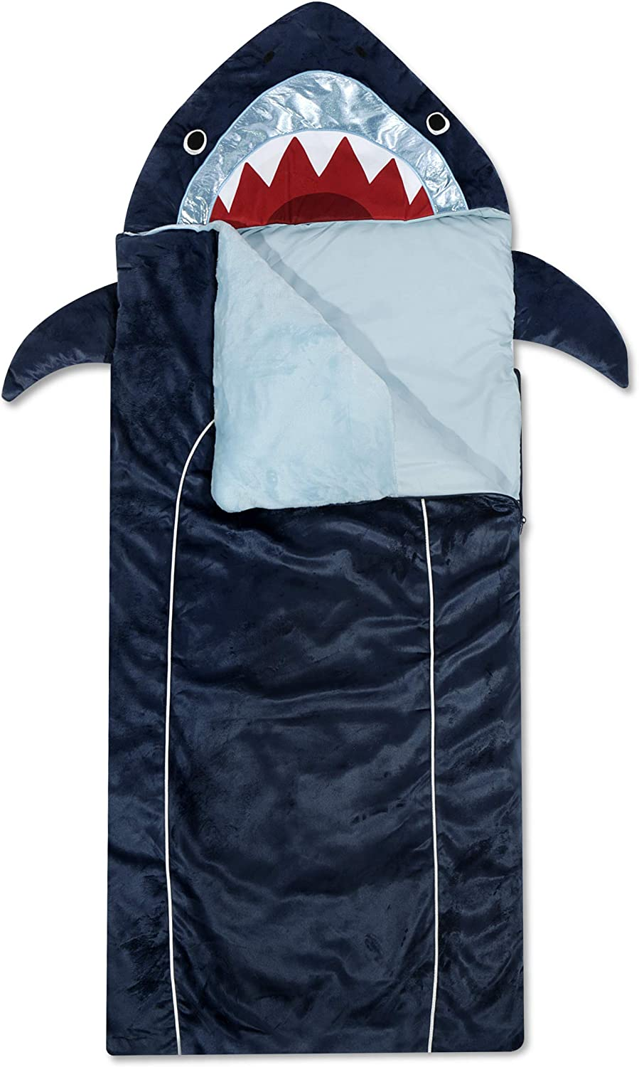 "Heritage Kids Shark Plush Hooded Sleeping Bag, 64"" L x 25"" W, Blue"