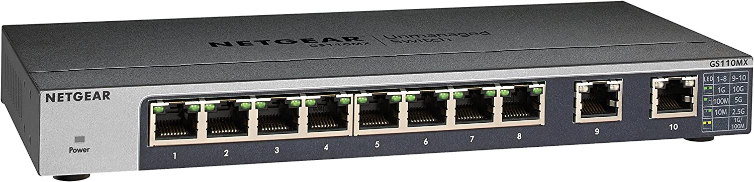 NETGEAR 10-Port Gigabit/10G Ethernet Unmanaged Switch (GS110MX) - with 2 x 10G/Multi-gig, Desktop/Rackmount, and ProSAFE Limited Lifetime Protection