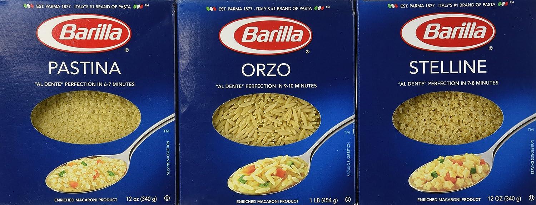 amazon com soup pasta variety pack barilla orzo pastina and