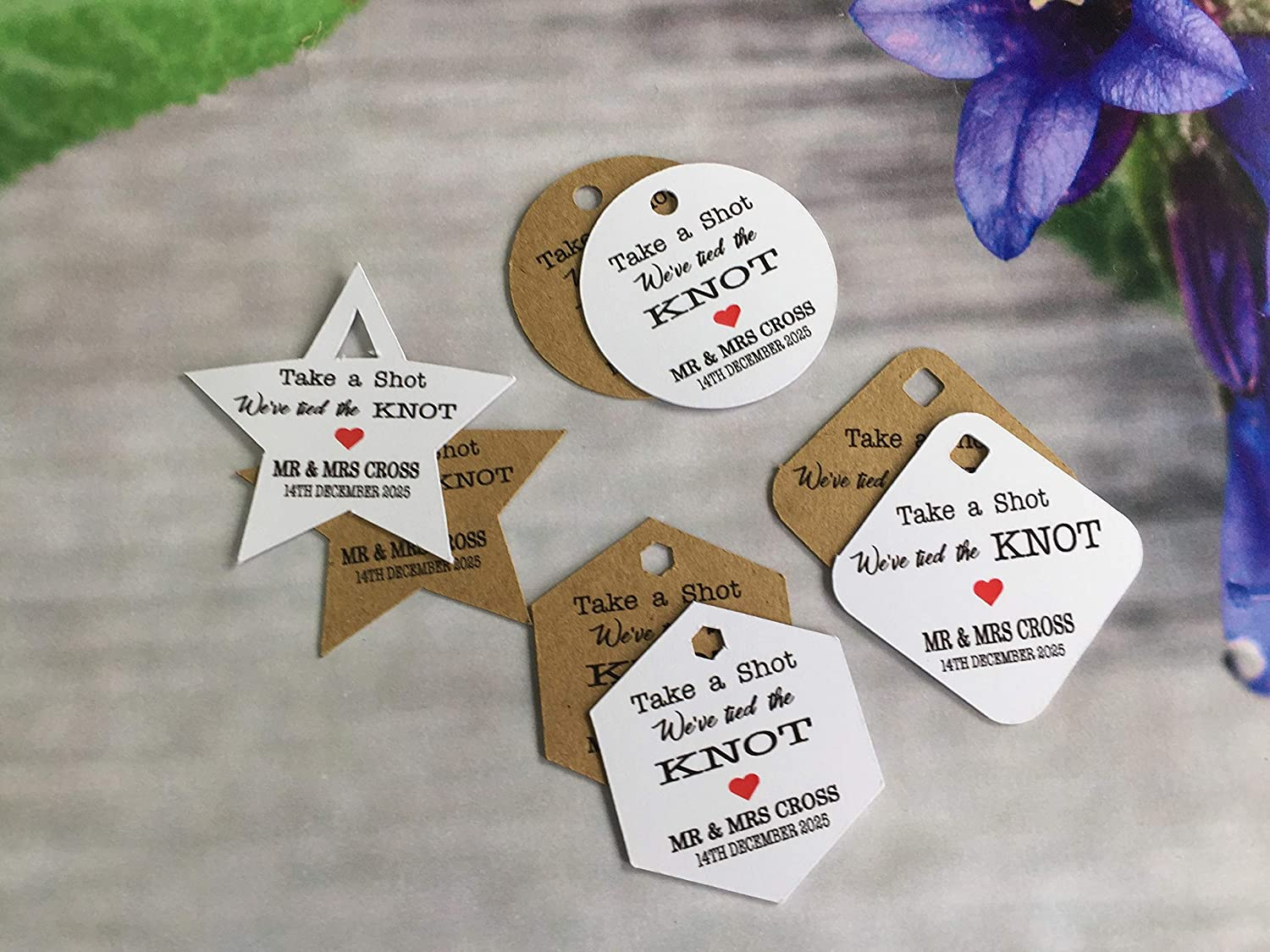 Personalised Wedding Heart Party Round Stickers Labels Favours Tied the knot