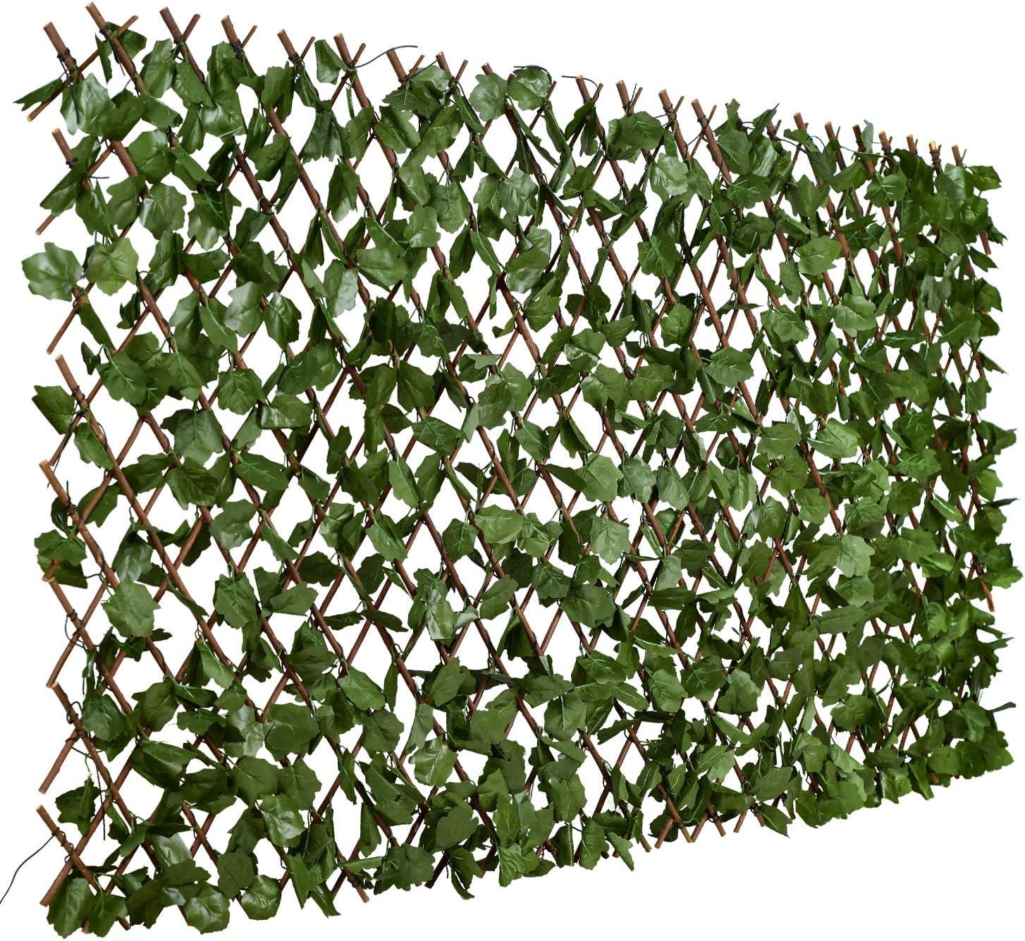 Paneles de privacidad artificial Planta de cobertura de topiario Setos artificiales Hiedra de imitaci/ón Hojas Valla Valla Malla Respaldo de protecci/ón UV Pantalla de privacidad Valla de jard/ín para