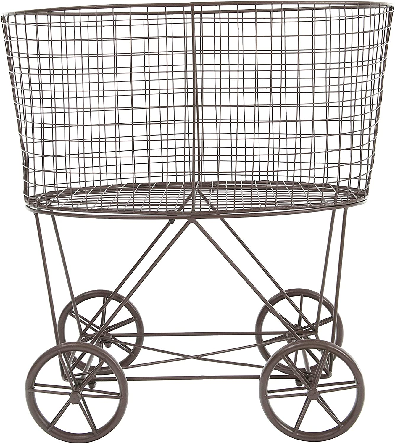 Creative Co-op Vintage Metal Laundry Basket with Wheels, Brown