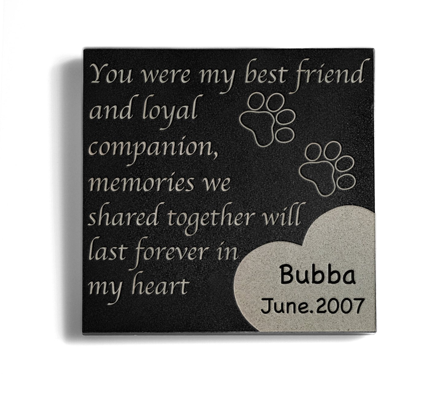 Personalized Memorial Pet Headstone Customized - Paw Print Left By You - 6 x 6 Granite