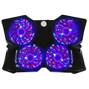 Adjustable Mount Stand Height Angle Laptop Cooler with 4 Quiet Fans for 12-17.3 Inch Laptop, Cooler Pad with Blue 4 LED Lights, Dual 2 USB 2.0 Ports Laptop Cooling Pad (4 Fans)
