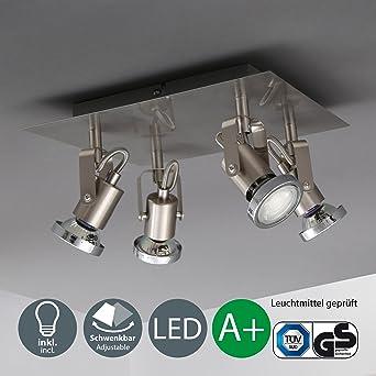B.K.Licht LED Deckenleuchte Schwenkbar Inkl. 4 x 5W Leuchtmittel ...