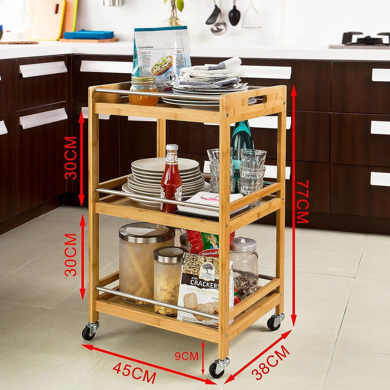 SoBuy carrito de cocina, Estantería de cocina, estantería de baño de bambú con ruedas FKW15-N