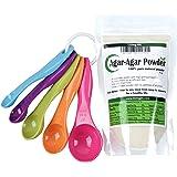 Agar Agar Powder 4oz and 5-Piece Measuring Spoon Set / Vegetable Gelatin Dietary Fiber [100% Natural Pure]