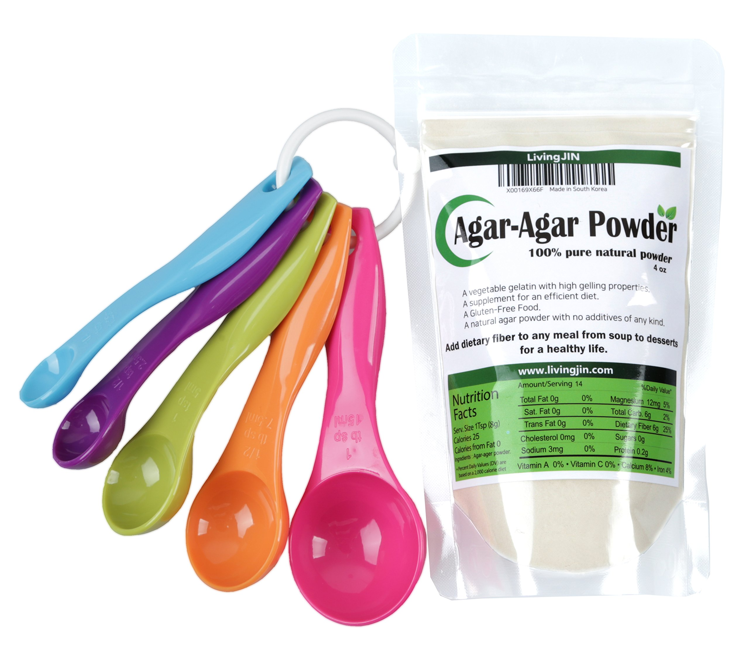 Agar Agar Powder 4oz and 5-Piece Measuring Spoon Set/Vegetable Gelatin Dietary Fiber [100% Natural Pure]