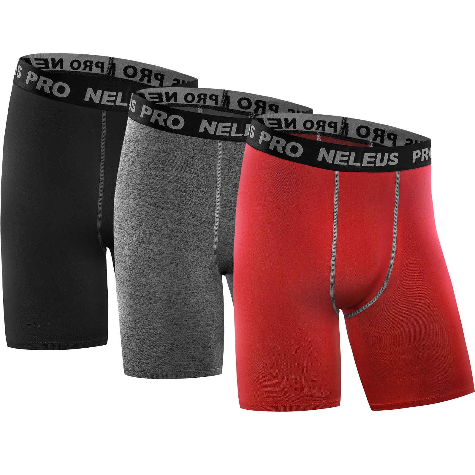 Neleus Men's 3 Pack Compression Shorts Running Workout Shorts,6034,Black,Grey,Red,US M,EU L by Neleus