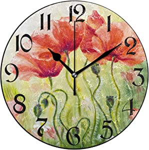 Pfrewn Spring Poppy Flowers Wall Clock Silent Non Ticking Red Cherry Butterfly Sunflower Clocks Battery Operated Vintage Desk Clock 10 Inch Quartz Analog Quiet Bedroom Living Room Home Decor