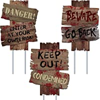 Halloween Decorations Beware Signs Yard Stakes Outdoor Creepy Assorted Warning Sign,Scary Zombie Theme Party Decor…