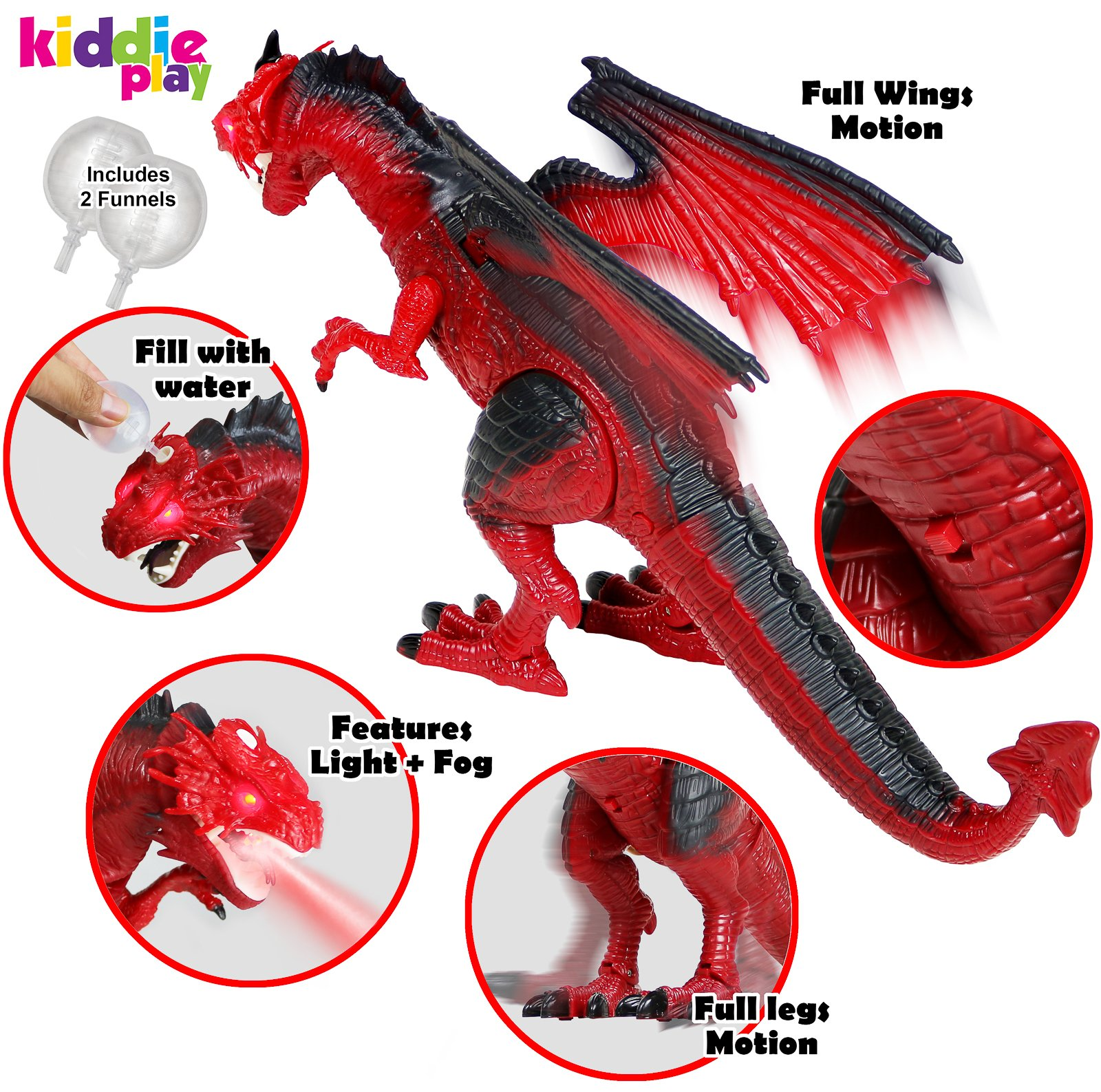 Kiddie Play Remote Control Dinosaur Toy Smoke Breathing and Walking Dragon with Lights and Sounds        by Kiddie Play (Image #2)