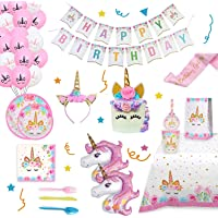 Unicorn Party Supplies Set & Tableware Kit,Serves 16 - Perfect for Girls Birthday Party Decorations- Includes Plates…