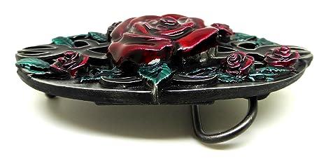Rote Rosen G/ürtelschnalle Gotischen Themen Authentische Bulldog Buckle Co Markenprodukt