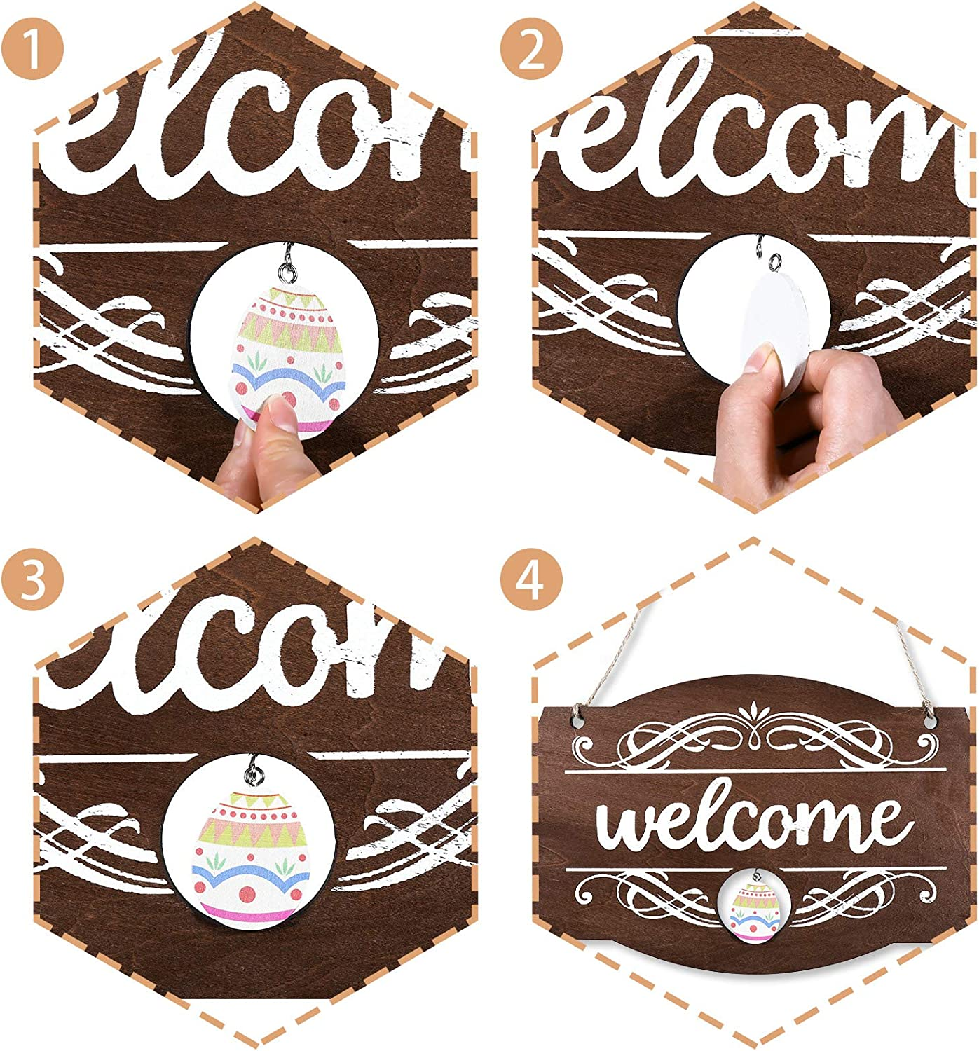 Interchangeable Seasonal Welcome Sign Front Door Decor Rustic Wood Welcome Sign Wall Hanging Porch Decoration for Holiday Halloween Fall Christmas Easter Valentines Thanksgiving Decor 14 x 9 Inch