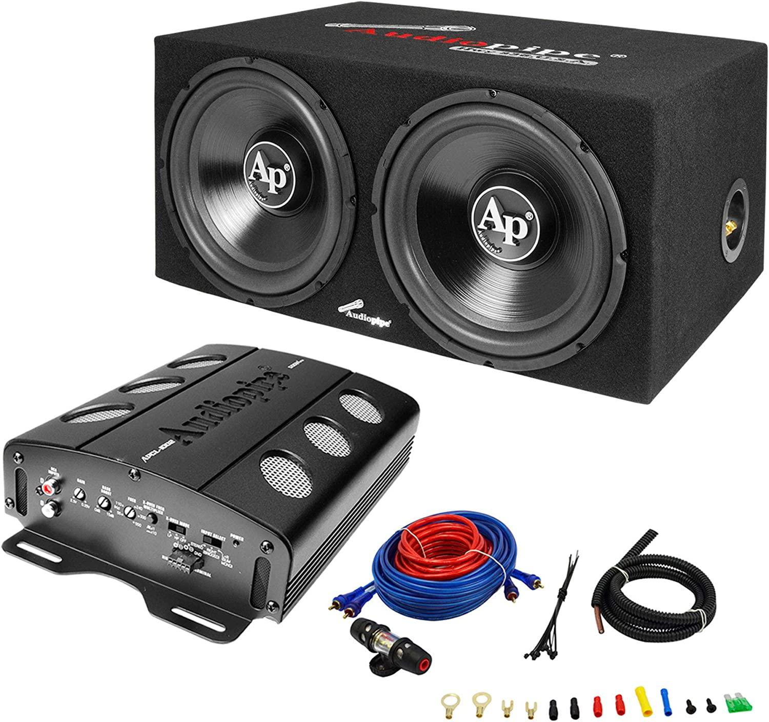 Amazon.com: Audiopipe APSB-1299PP Loaded Dual 12 Subs Amp and Wire Kit Car  Audio PackageAmazon.com