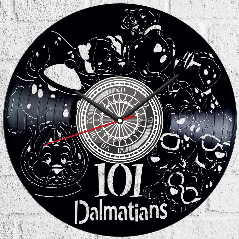 Amazon Com 101 Dalmatians Black Vinyl Clock Vintage Room Kitchen