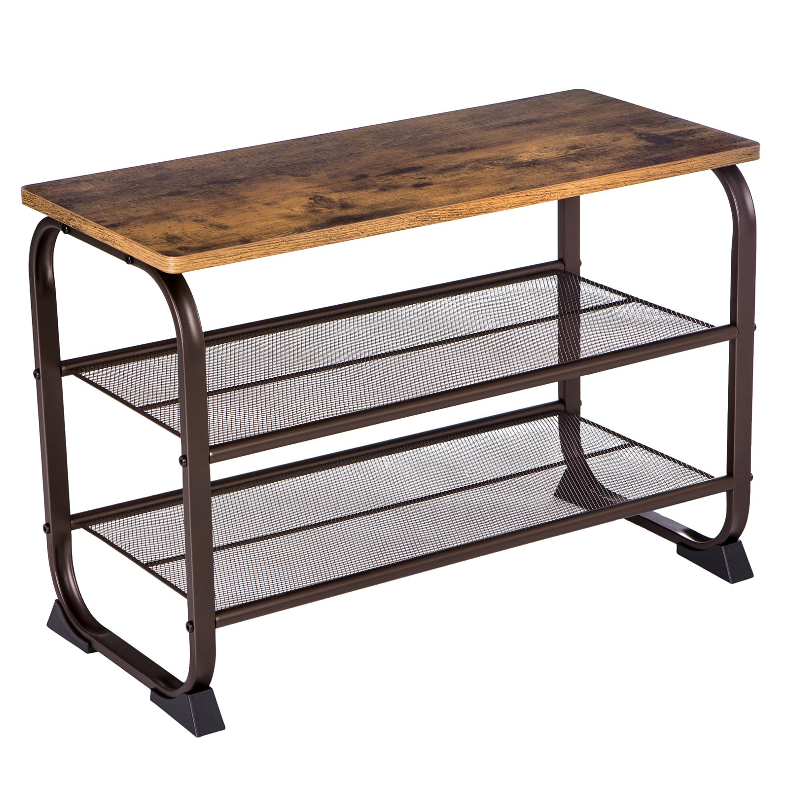 VASAGLE Industrial Shoe Bench Rack, 3-Tier Shoe Storage Shelf for Entryway Hallway Living Room, Wood Look Accent Furniture with Metal Frame, Easy Assembly ULMR32A by VASAGLE