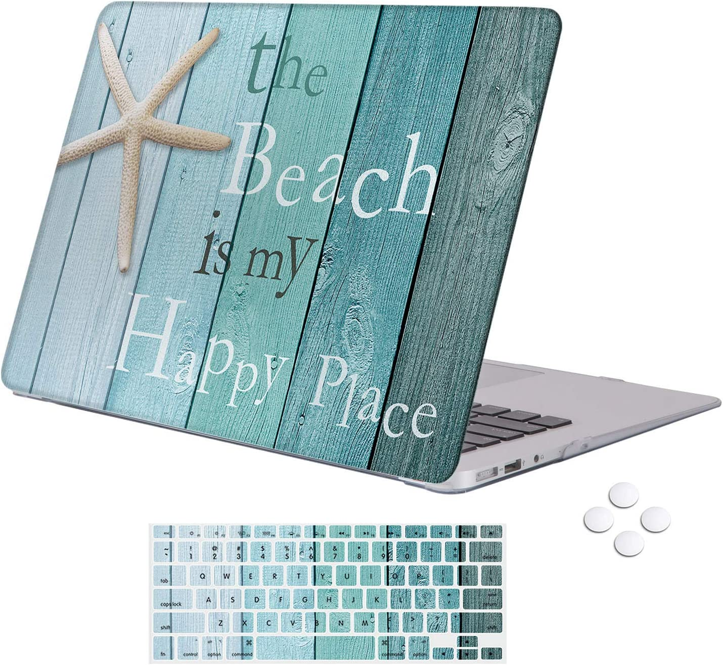 Holilife MacBook Air 13 inch Case 2010-2017 Release (Model A1369/A1466), Soft Plastic Hard Shell Case Protector with Keyboard Cover Compatible MacBook Air 13 Older Version - Beach