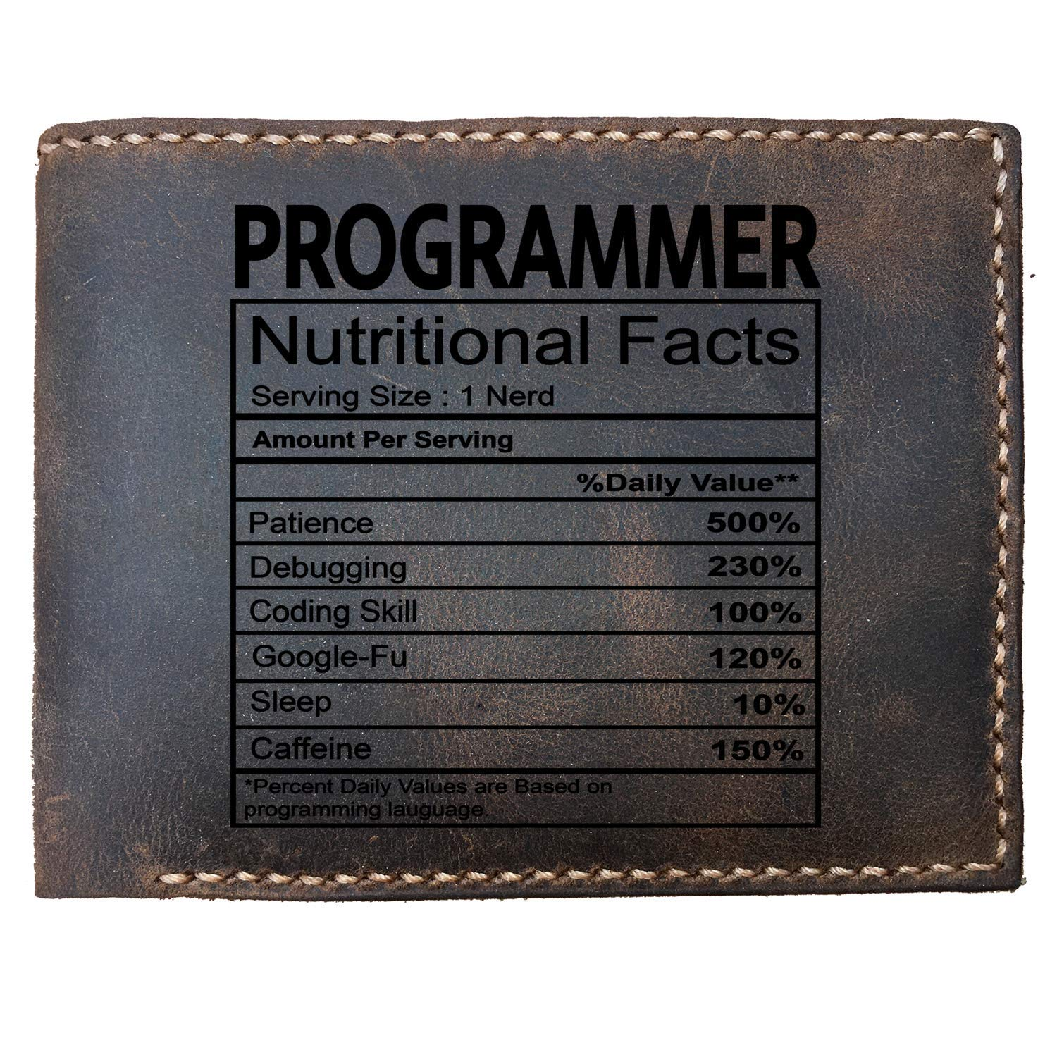 Makes a Great Gift Perfect Custom Laser Engraved Leather Bifold Wallet for Men for Programmer Max/&Mori Programmer Nutrition Facts
