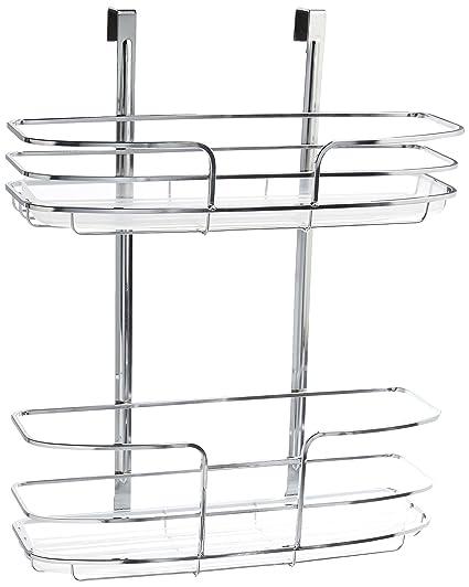 Lynk Over Cabinet Door Organizer Double Shelf W Molded Tray Chrome