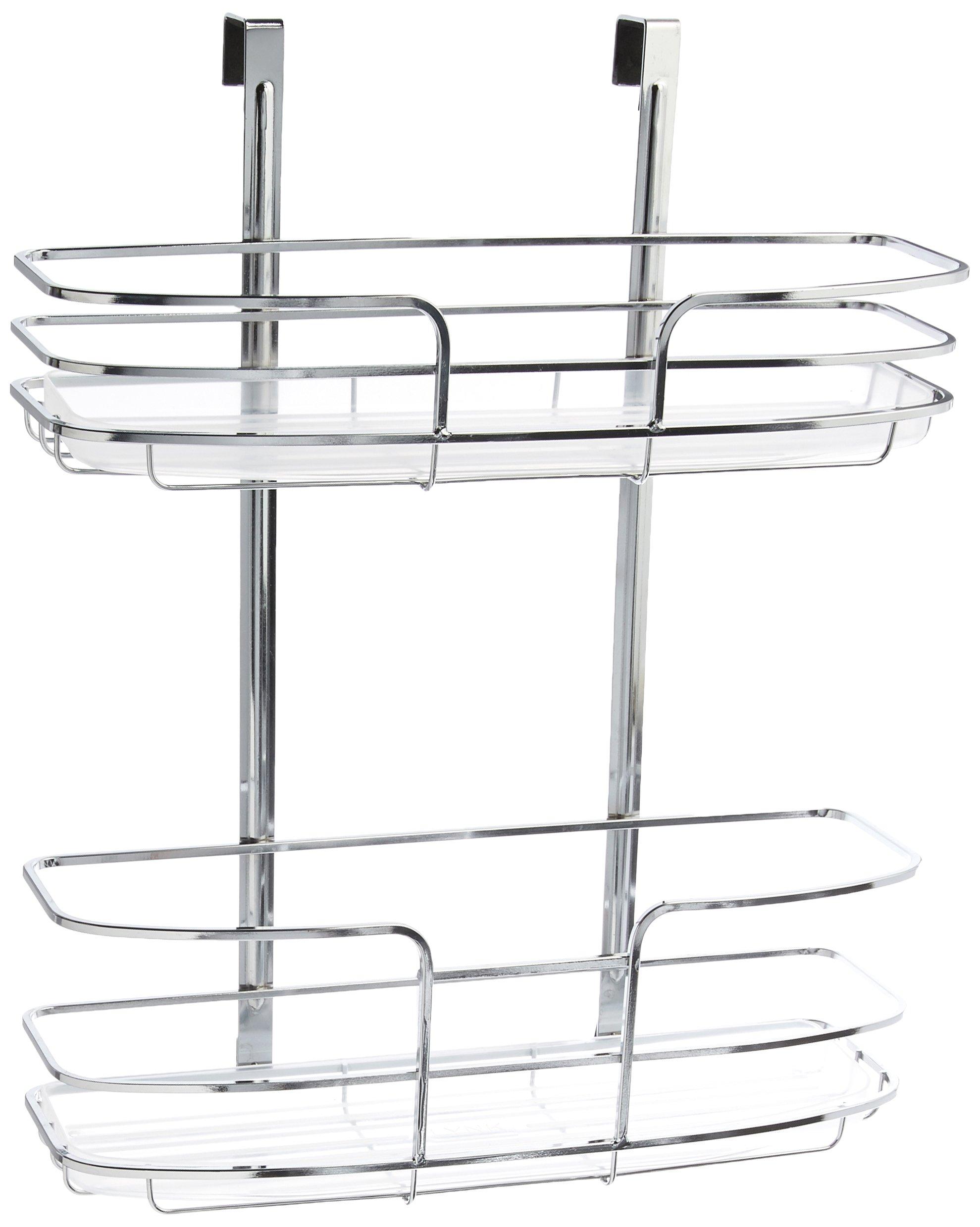Lynk Over Cabinet Door Organizer - Double Shelf - w/Molded Tray - Chrome