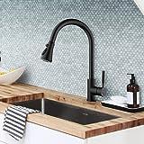 SOKA Black Kitchen Faucet with Pull Down Sprayer Kitchen Sink Faucet Single Handle Kitchen Faucet Matte Black Utility Sink Fa
