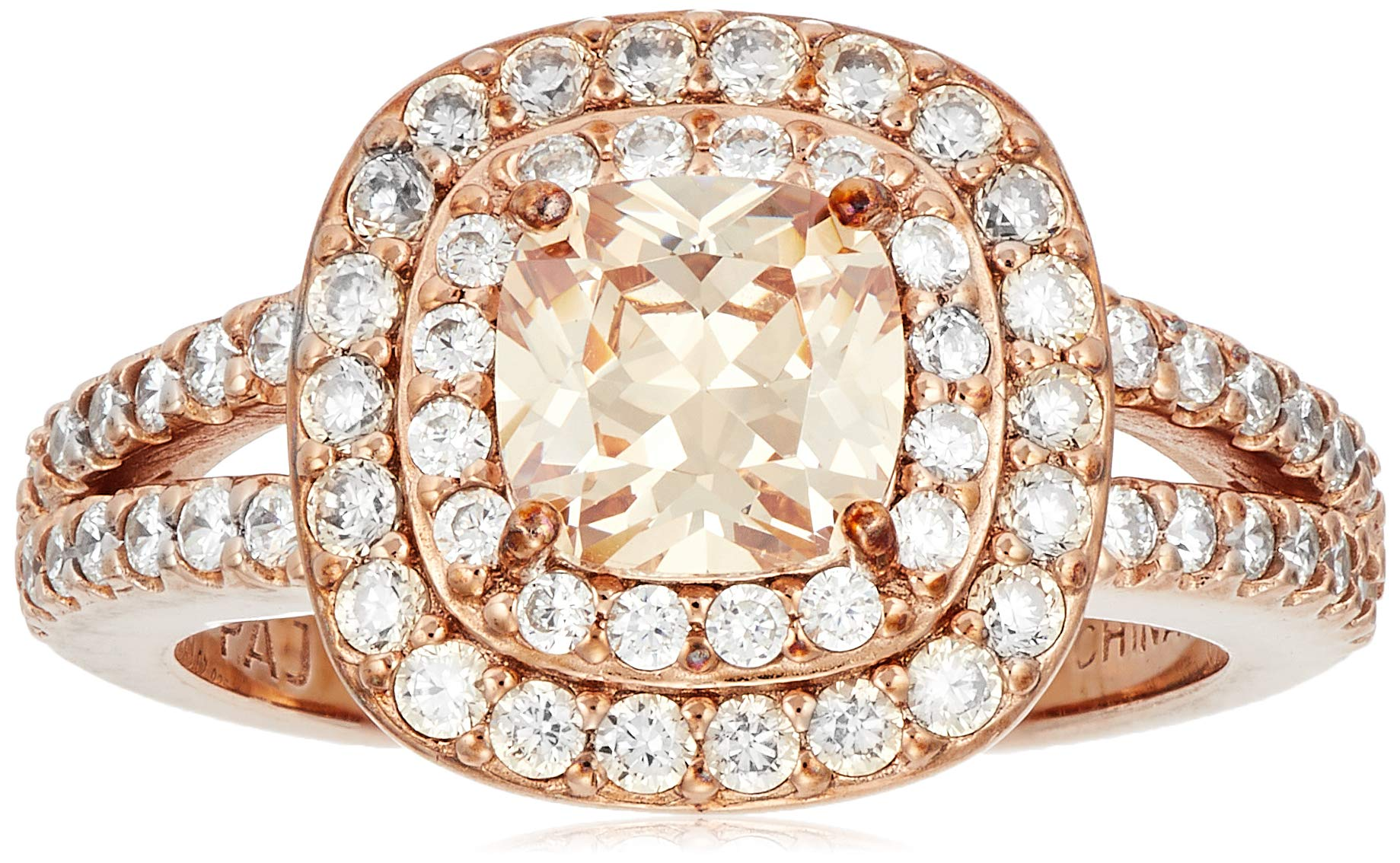 14k Rose Gold Plated Sterling Silver Champagne Cubic Zirconia Cushion Cut 6mm Double Halo Ring, Size 7 by Amazon Collection