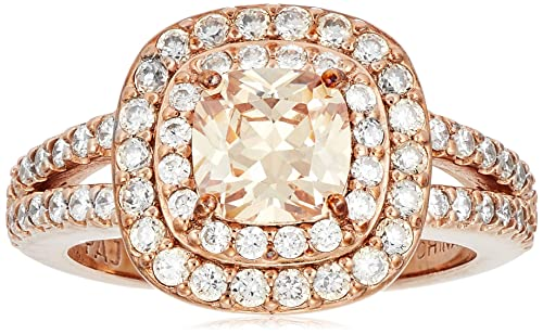 e75ea53ab9369 14k Rose Gold Plated Sterling Silver Champagne Cubic Zirconia Cushion Cut  6mm Double Halo Ring