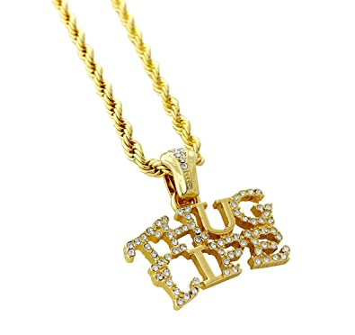 3aba30817a6057 Image Unavailable. Image not available for. Color: United Bling Iced Out Thug  Life Pendant ...