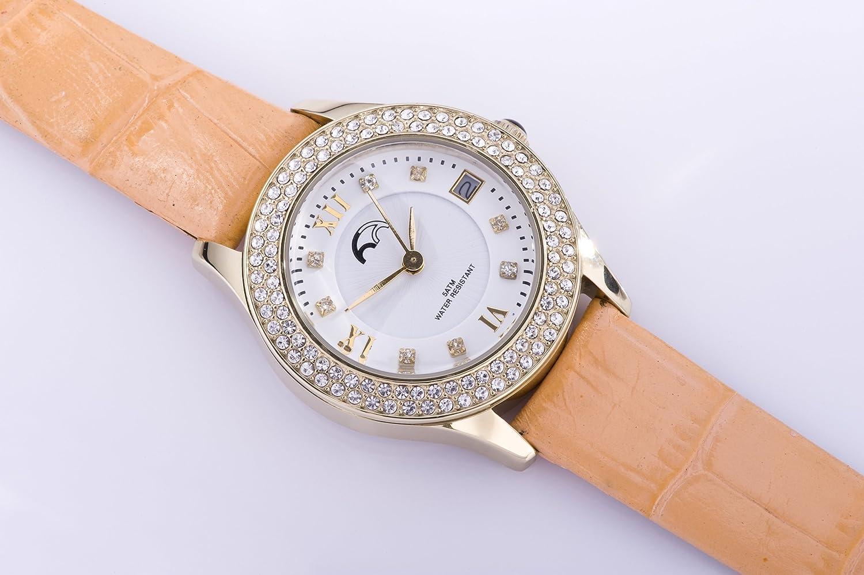 Heinzendorff Uhr Damenuhr gold weiß Lederarmband orange Zirkonia