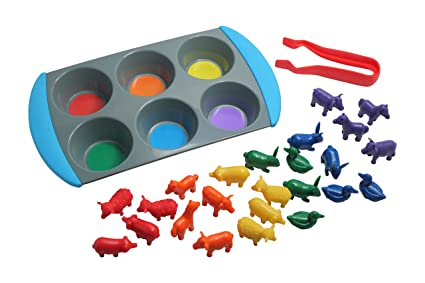 Amazon Color Sorting Learning Set Tray And Farm Animal Manipulatives To Sort