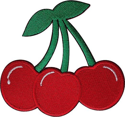 Cherry parche bordado hierro Sew en ropa bolsa frutas cerezas bordado Badge